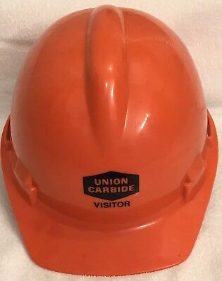 UNION CARBIDE Vistor Orange Hardhat  FREE SHIPPING