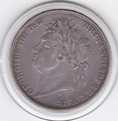 1821   King  George  IV  Large  Crown / Five Shilling British  Coin