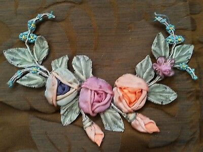 New Old Stock Antique 20's Era Silk Ribbon Work Florals Flowers  Roses Garland