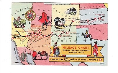 Fred Harvey Hotel -- Mileage Chart Postcard -- Kansas to California - 1949 SW