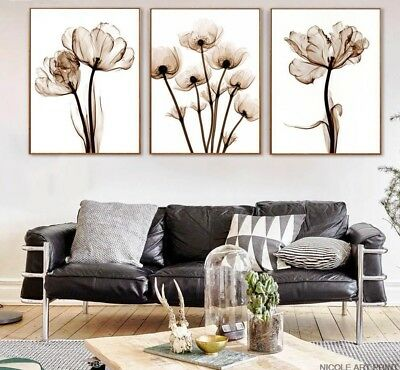 Minimalist Art Painting Abstract Flowers Canvas Wall Print Modern Home Decor New