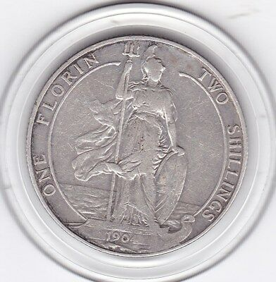 1904   King  Edward  VII  Florin  (2/-)  Sterling  Silver (92.5%)  Coin