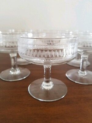 Vintage Mid-Century Needle Etched Champagne/Martini/Sherbet Coupe Glasses SET/6