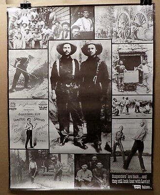Vintage ADVERTISING POSTER for LEVI'S GALLUSES SUSPENDERS logging photos 1970s