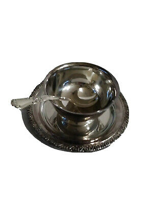 Vintage WmA Oneida Gravy Bowl with attached underplate & Ladle Spoon, marked