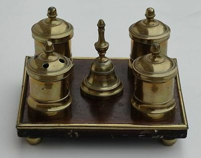 Antique Continental Walnut and Brass Inkstand Complete, 18th Century