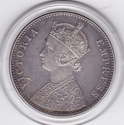 1884  One  Rupee  India - British  Silver Coin