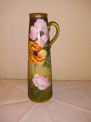 """Hand Painted Nippon 11"""" Pitcher Ewer Poppy"""