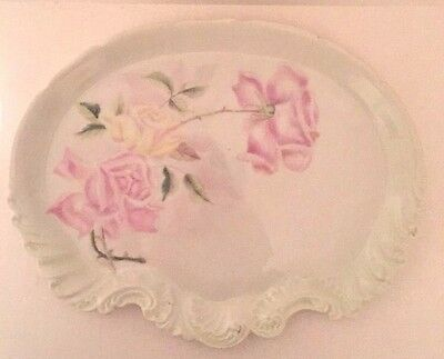 """Antique A. K. D. France Porcelain Dressing Tray Pink & Yellow Roses 11 1/2"""" Wide"""