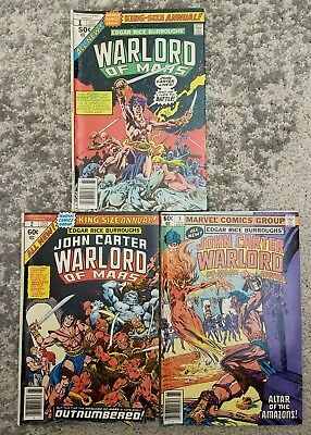 John Carter Warlord Of Mars Annuals 1, 2 & 3 (lot of 3) Marvel Comic Burroughs