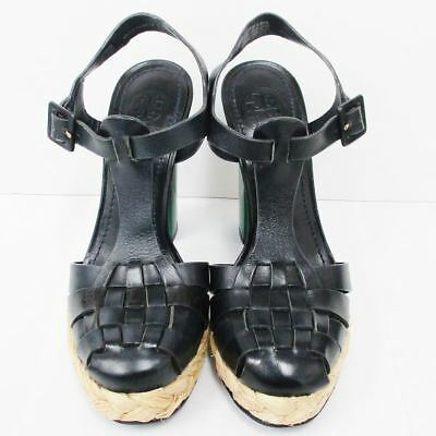 Tory Burch Leather Sandal Black Green 7 Ladies Free Shipping [Used]