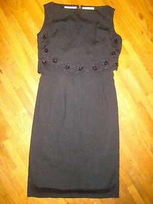 Vintage Designer Dress Italy Gino Paoli Evening Party Black Wool Beaded 40S 50S