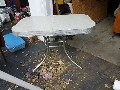 50s Chrome Gray Cracked Ice Table Curved Design Wide Chrome Bands, Mid Century