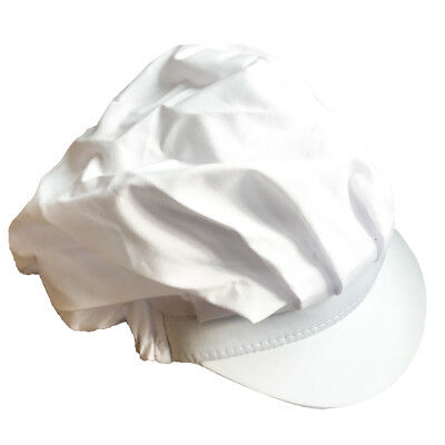 2*Women White Catering Hat Food Hygiene Snood Cap Chef Bakers Bouffant Cap WE9X