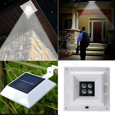 4LED Solar Power Square Garden Outdoor Fence Light Yard Wall Gutter Pathway Lamp