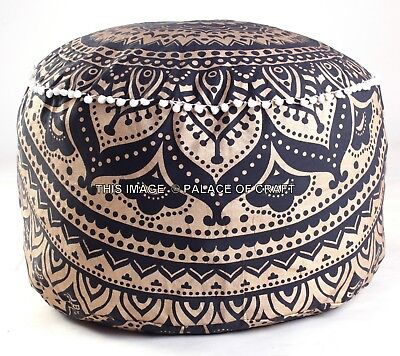 Indian Ombre Gold Pouffe Mandala Footstool Cover Round Ottoman Pouf Decorative