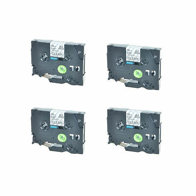 4PK TZ-131 TZe-131 Black on Clear Label Tape For Brother P-Touch PT-1880 12mmx8m