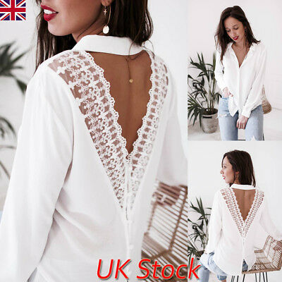 UK Womens Long Sleeve Backless V Neck Lace Blouse Tops Ladies Autumn Loose Shirt