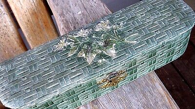 Vintage Aesthetic Era Wood Paper Gesso Glove Dresser Box Ivy Flowers Antique