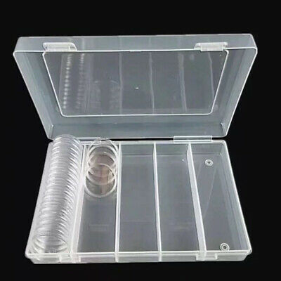 1x 100pcs 30mm Clear Plastic Round Case Coin Storage Capsules Holder Round Box