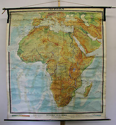 physische Schulwandkarte Afrika Africa vintage physical wall map 158x178cm ~1965