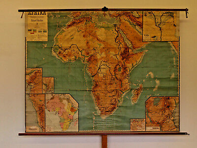 Schulwandkarte Afrika colonial Africa physisch ~1910 194x151cm vintage wall map