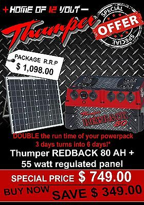DUAL Battery System Portable Thumper Redback 80 AH AGM Pack + 55watt SOLAR PANEL