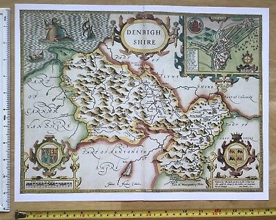 "Old Antique Tudor map of Denbighshire, Wales: John Speed 1600's 15"" x 11 Reprint"