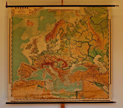 Schulwandkarte physisch Europa ~1922 195x180 vintage physical europe school map