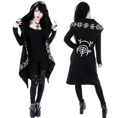 Women's Long Sleeve Witch Hooded Sweater Coat Jacket Hoodie Gothic Punk Outwear
