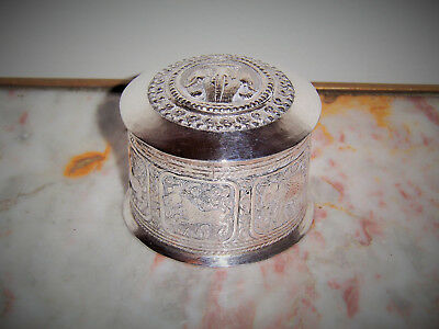 Antique Vintage Burmese Asian Pure Silver 100% Trinket Box Engraved Wild Animals