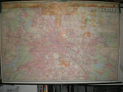 Schulwandkarte Wandkarte wall map card Berlin city of Stadtplan 233x158cm ~1965