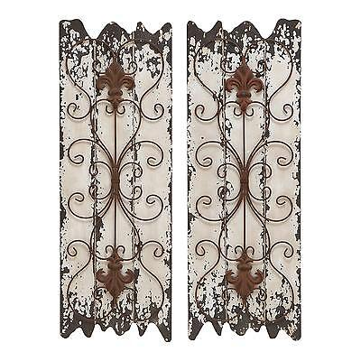 Rustic Victorian Wall Panel Sculpture Antiqued Distressed Wood & Metal, 2 Pc Set