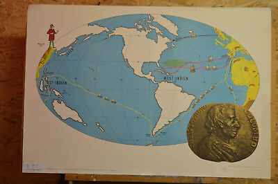 Wandkarte Entdeckung Amerikas discovery of america vintage wall map 92x64c ~1958