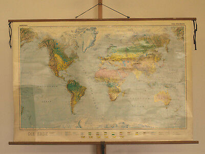 Wandkarte schöne alte Weltkarte world wall card map 124x83cm Orbit vintage 1977