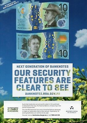 AUSTRALIA $10 2017 + RBA Information Sheet Large F + Book Mark x 1 UNC Banknote