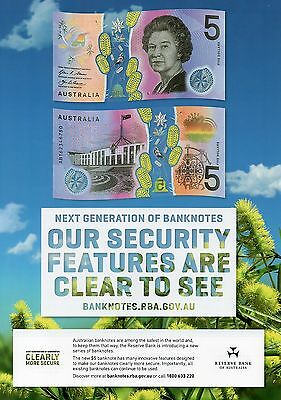 AUSTRALIA $5 Dollars 2016 + RBA Security Information Sheet A4 UNC Banknote