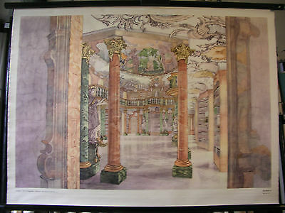 Schulwandbild Beautiful Old Map Barockkunst Architecture 104x76 Vintage Map~1961