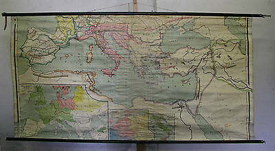 Schulwandkarte Europa Germanic Hike Nations Celts 216x110cm Vintage~1920