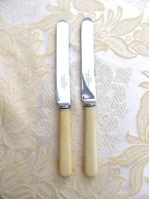 Pair Of Art Deco Walker & Hall Round Blade Cutlery Butter Knives   1400788/791