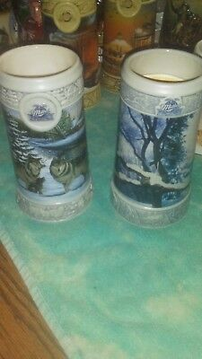 1999 and 2000 Miller Holiday Collector Steins