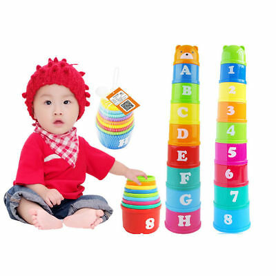 9Pcs Toys Folding Cups Figure Letter Baby Tower Kids Stacking Building Blocks AU