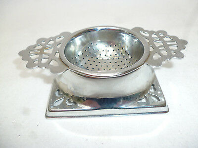 VINTAGE PLATED ART DECO STYLE TEA STRAINER & STAND - good clean condition