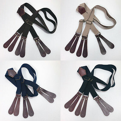 Lot of 10 Suspenders 6 Button Hole Leather Elastic Suspender Braces Belt 4 Color