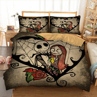 Nightmare Before Christmas Duvet Cover Pillow Cases King Quilt Cover Bedding Set