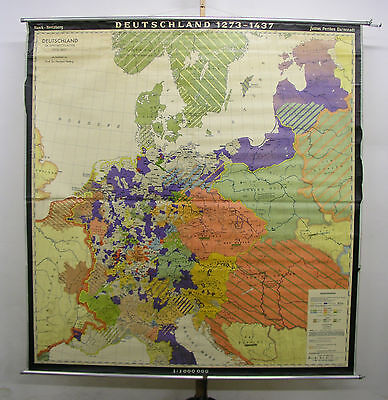 Schulwandkarte Wall Map Germany Knight 1273-1437 Medieval 194x203cm 1965