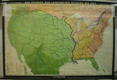 Schulwandkarte Wall Map USA Bis 1783 Spain Indian Tribes Settler 195x132cm