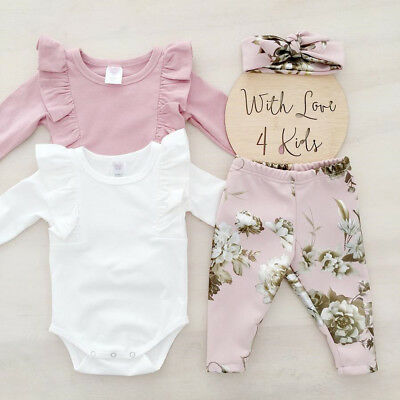 US STOCK Cute Newborn Baby Girls Tops Romper Floral Pants Outfits Set Clothes