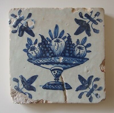 "17th Century DUTCH DELFT TILE ""FRUIT COMPOTE"""