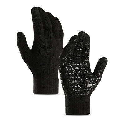 Men Winter Warm Fleece Lined Thermal Knitted Gloves Outdoor Touch Screen Mittens